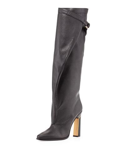 Tonya Runway Slouchy Knee Boot, Black