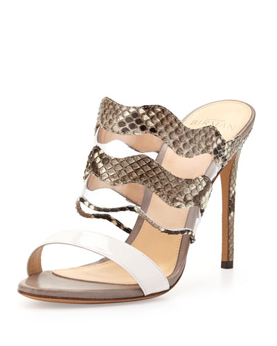 Python & PVC Mule Slide, White/Natural