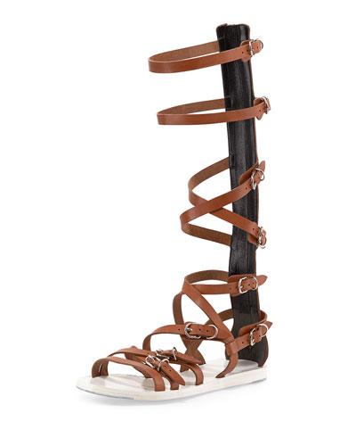 Buckle-Strap Gladiator Sandal, Praline