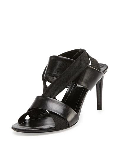 Elastic Crisscross Slingback Sandal, Noir