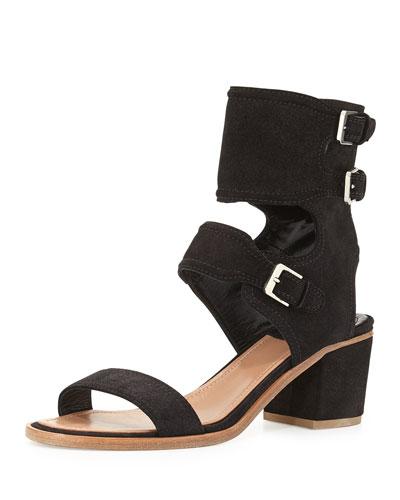 Suede Ankle Cuff Sandal, Black