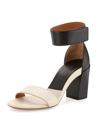 Two-Tone Block-Heel Sandal, Black/White