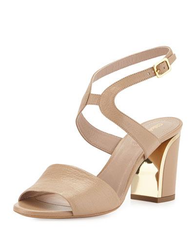 Leather Curve-Heel Sandal, Beige Rose