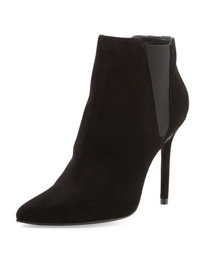Apogee Suede Point-Toe Ankle Boot, Black