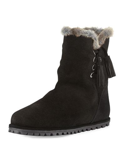 Fargo Faux-Fur-Lined Bootie, Black