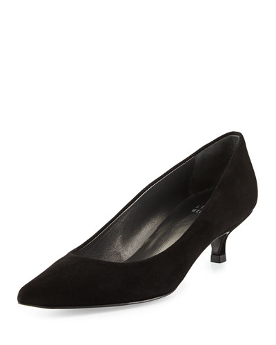 Poco Suede Kitten Heel Pump, Black
