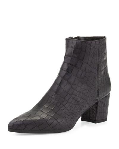 Zepher Croc-Embossed Ankle Boot, Nero