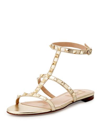 Rockstud Ankle-Strap Flat Sandal, Platino
