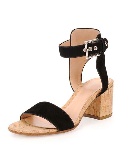 Cork-Heel Suede City Sandal