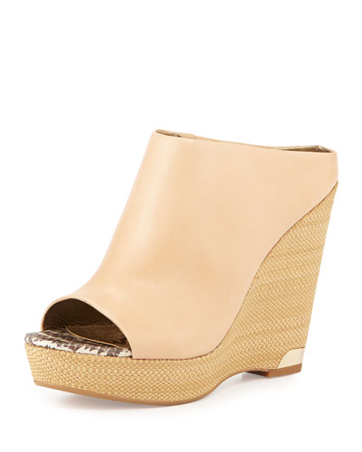 Khylee Leather Wedge Mule, Nude