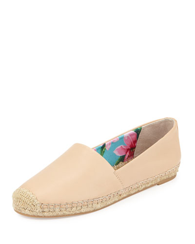 Lynn Leather Flat Espadrille, Nude