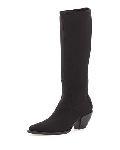 Soni Crepe Knee Boot, Black
