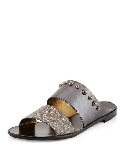 Metallic Double-Band Sandal, Silver