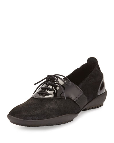 Alexia Calf Hair Sneaker, Black