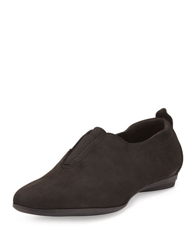 Ally Nubuck Slip-On Sneaker, Black