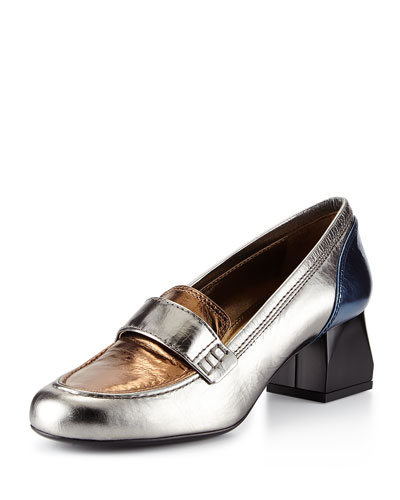 Tricolor Metallic Loafer, Silver