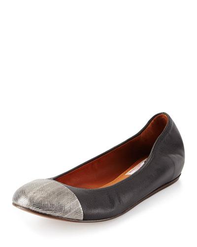 Cap-Toe Leather Ballerina Flat, Silver