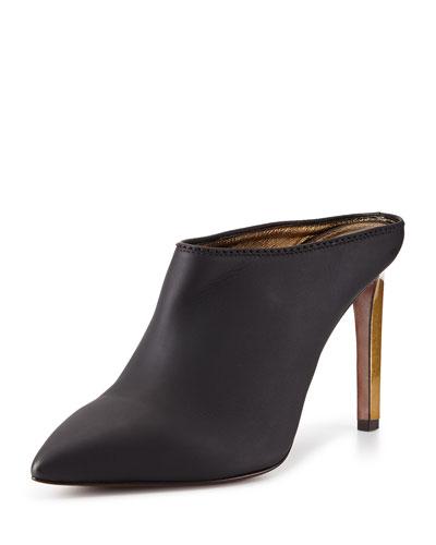 Leather Point-Toe Mule Slide, Black