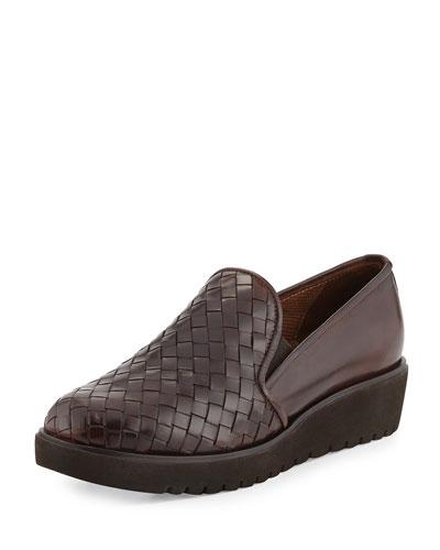 Allix Woven Slip-On Loafer, Dark Tan