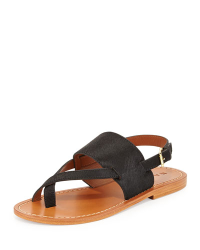Calf Hair Slingback Thong Sandal, Black