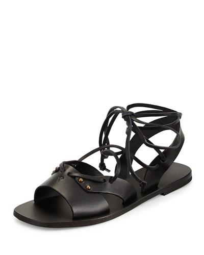 Leather Wide-Strap Gladiator Sandal, Black