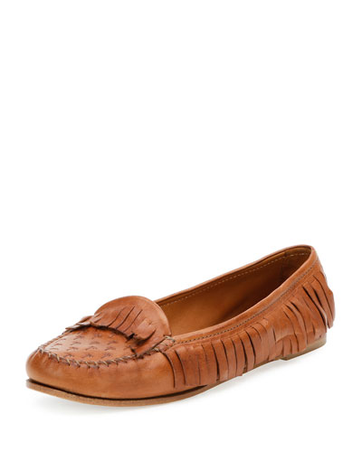 Leather Fringe Moccasin, Cuir