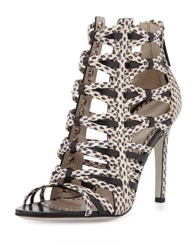 Strappy Snakeskin Sandal, Nude/Black