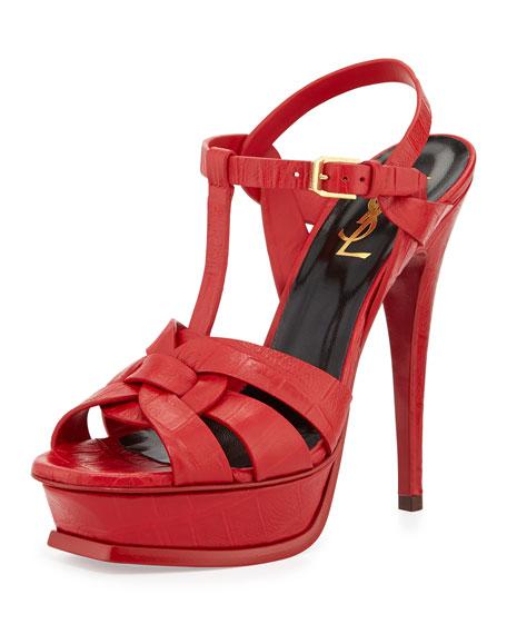 8306009e9b Tribute Croc-Print Leather Platform Sandal Red