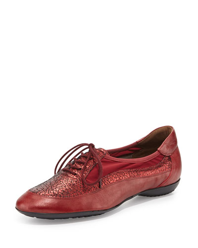 Bette Combo Leather Micro Stretch Sneaker, Red