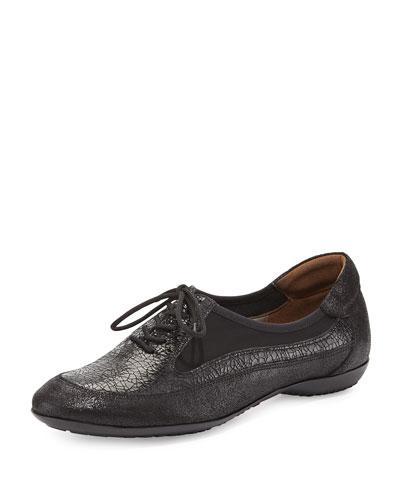 Bette Combo Leather Micro Stretch Sneaker, Black