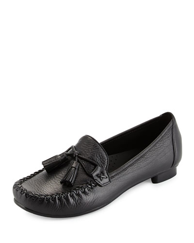 Farrah Leather Moccasin, Black
