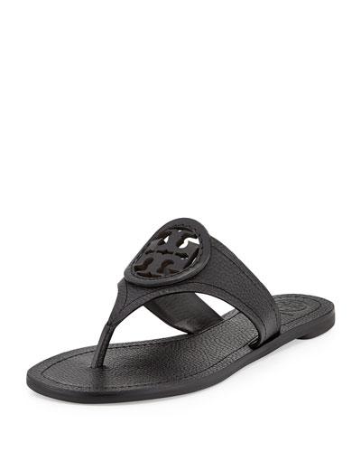 Louisa Logo Flat Thong Sandal, Black
