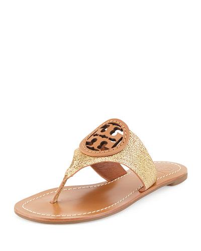 Louisa Logo Thong Sandal, Gold