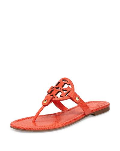 Miller Lizard-Print Logo Thong Sandal, Orange