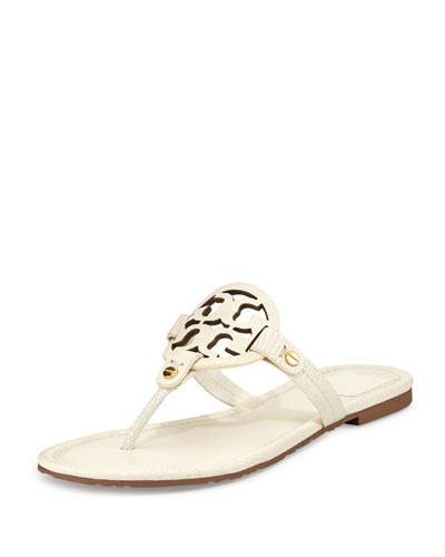 Miller Lizard-Print Logo Thong Sandal, White