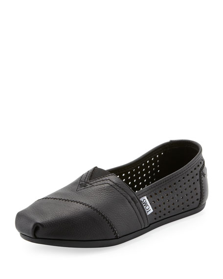 toms perforated leather slip on black