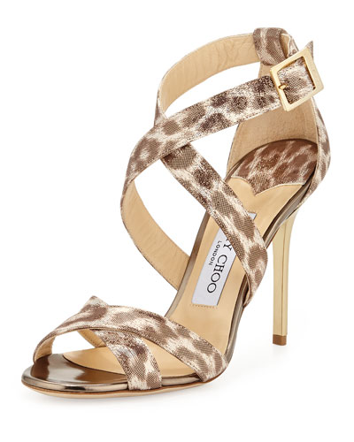 Lottie Leopard-Print Metallic Sandal, Gold