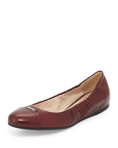 Scrunched Leather Ballerina Flat, Amaranto