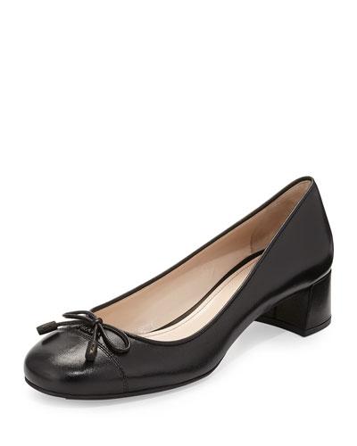 Napa Leather Bow Ballet Pump, Black (Nero)