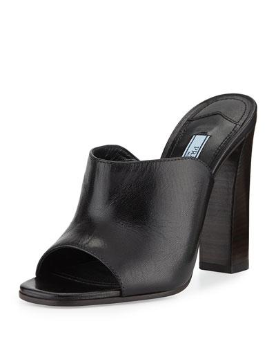 Calfskin Wide-Band Sandal, Nero (Black)