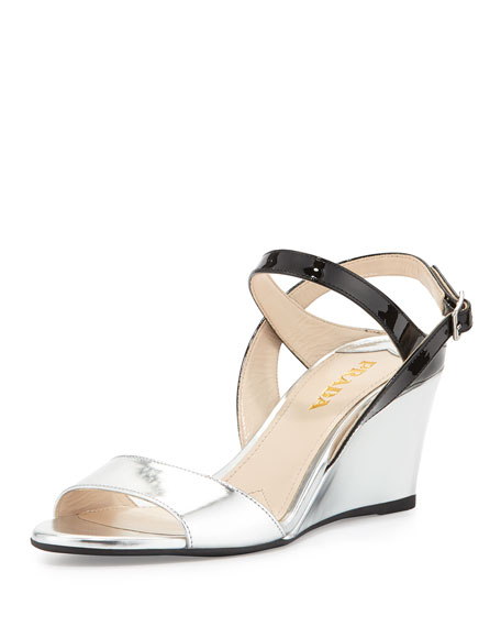 Prada Vernice Wedge Slide Sandals buy cheap marketable outlet collections buy cheap sneakernews Ulzf2S4yGE