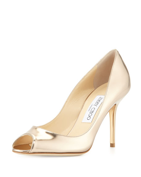 286aac8f8 Jimmy Choo Evelyn Metallic Leather Peep-Toe Pump, Nude