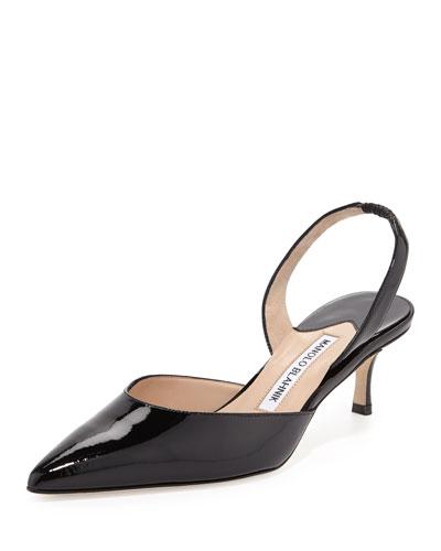 Carolyne Patent Low-Heel Pump, Black