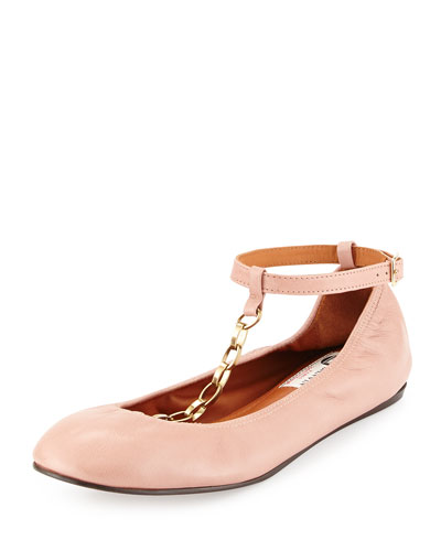 Scrunched Chain Leather Ballerina Flat, Nude