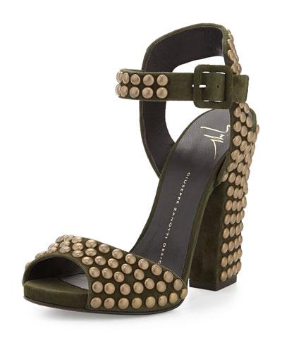 Studded Ankle-Wrap Chunky-Heel Sandal, Militare