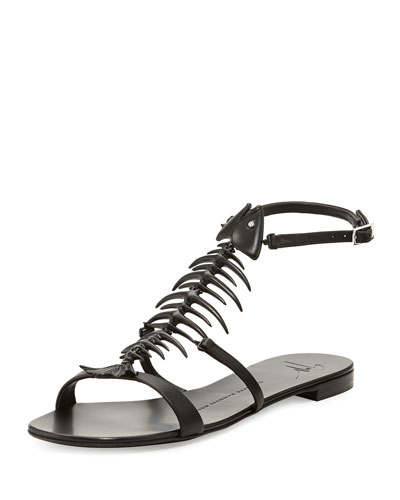 Fishbone Flat Sandal, Black