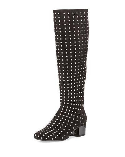 Suede Crystal-Stud Knee Boot, Black