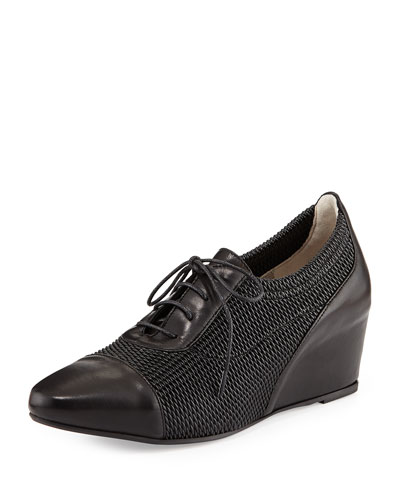 Pandora Woven Wedge Sneaker, Black