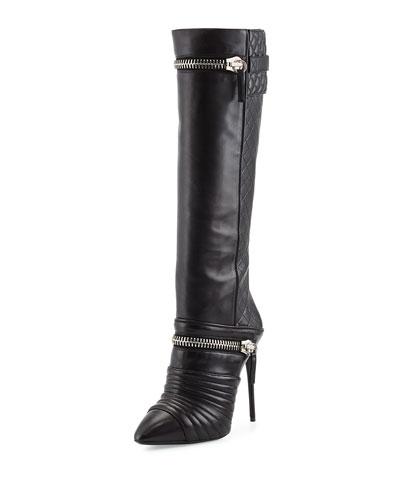 Quilted Double-Zip Knee Boot, Black
