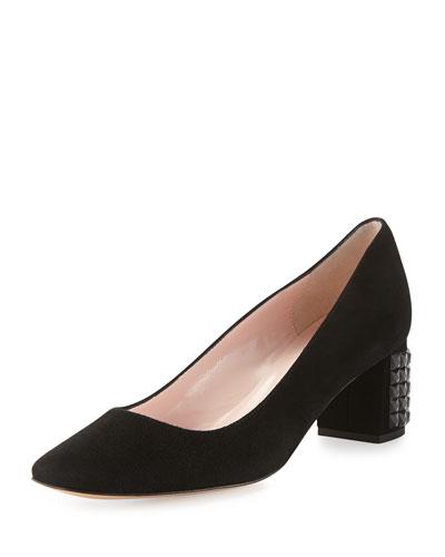 danika suede crystal-heel pump, black